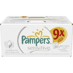 Pampers - 504 Lingettes Bébés Sensitive Baby - 9 Packs de 56 sur Les Couches
