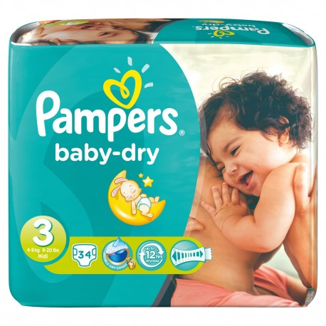 Pampers - 34 Couches Baby Dry taille 3 sur Les Couches