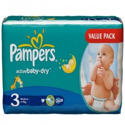 Pampers - 192 Couches Active Baby taille 3 sur Les Couches