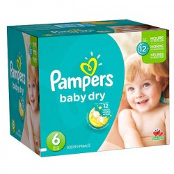 Pampers - 33 Couches Baby Dry taille 6 sur Les Couches