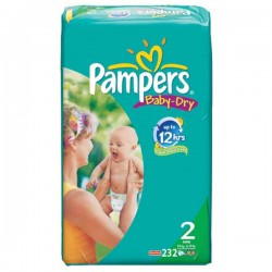 Pampers - 232 Couches Baby Dry taille 2 sur Les Couches