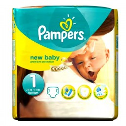 Pampers - 27 Couches New Baby Dry taille 1 sur Les Couches
