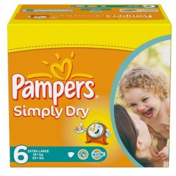 Pampers - 124 Couches Simply Dry taille 6 sur Les Couches