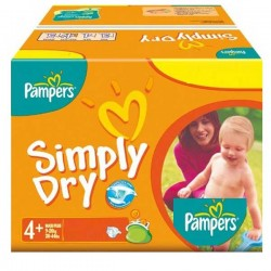 Pampers - 44 Couches Simply Dry taille 4+ sur Les Couches