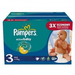 Pampers - 96 Couches Active Baby taille 3 sur Les Couches