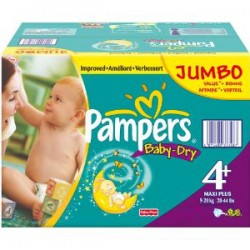 Pampers - 210 Couches Baby Dry taille 4+ sur Les Couches