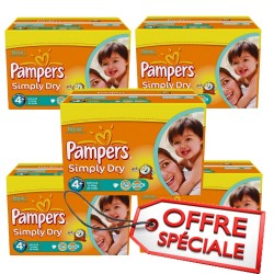 Pampers - 880 Couches Simply Dry taille 4+ sur Les Couches