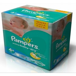Pampers - 265 Couches Active Baby Dry taille 4+ sur Les Couches