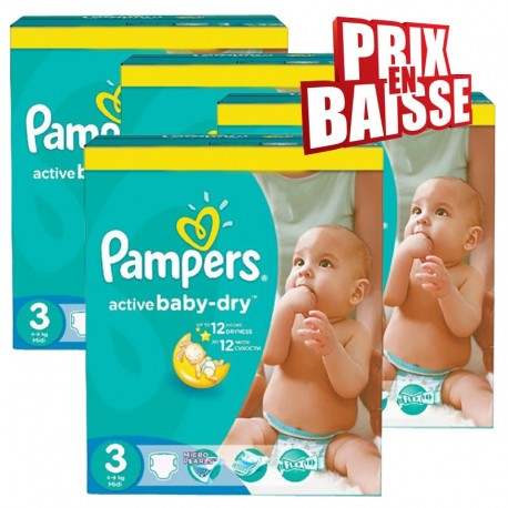 Pampers - 444 Couches Active Baby Dry taille 3 sur Les Couches