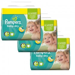 Pampers - 114 Couches Baby Dry taille 6+ sur Les Couches