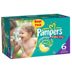 Pampers - 152 Couches Baby Dry taille 6+ sur Les Couches