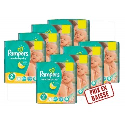 Pampers - 408 Couches New Baby Dry 2 sur Les Couches
