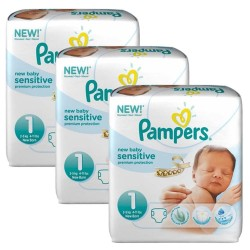 Pampers - Maxi Mega pack 168 Couches New Baby Sensitive taille 1 sur Les Couches