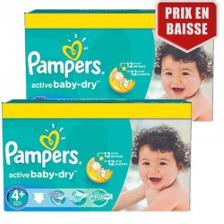 Pampers - Maxi Pack 162 Couches Active Baby Dry taille 4+