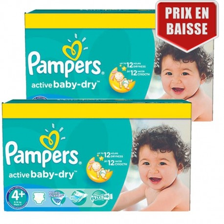 Pampers - Maxi Pack 162 Couches Active Baby Dry taille 4+ sur Les Couches