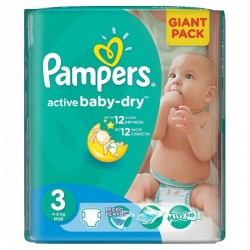Pampers - Pack 82 Couches Active Baby Dry taille 3