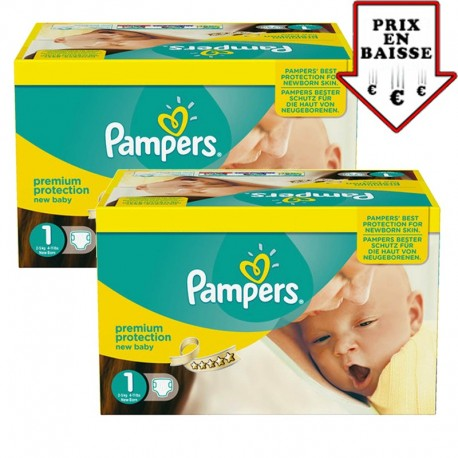 Pampers - Giga pack 345 Couches New Baby taille 1 sur Les Couches