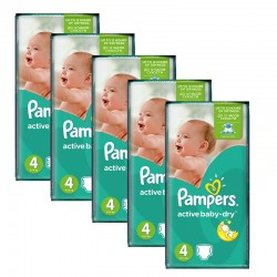 Pampers - Maxi Giga pack 294 Couches Active Baby Dry taille 4 sur Les Couches