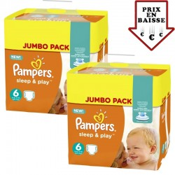 Pampers - giga pack 348 Couches Sleep & Play taille 6 sur Les Couches
