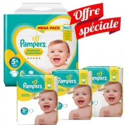 Pampers - Pack Jumeaux 416 Couches Premium Protection - New Baby taille 5+