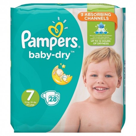 Pampers - Pack 28 Couches Baby Dry taille 7 sur Les Couches