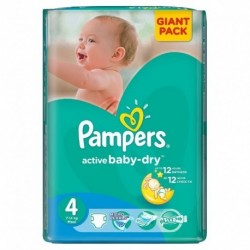 Pampers - Pack 90 Couches Active Baby Dry taille 4+