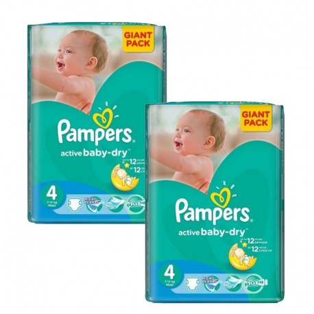 Pampers - Maxi Giga Pack 270 Couches Active Baby Dry taille 4 sur Les Couches