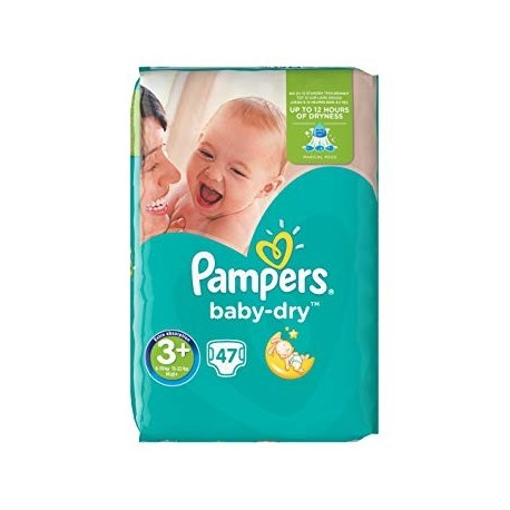 Pampers - Pack 47 Couches Baby Dry taille 3+ sur Les Couches