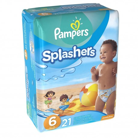 Pampers - Pack 21 Couches de bains Swimming Pants Splachers taille 6 sur Les Couches