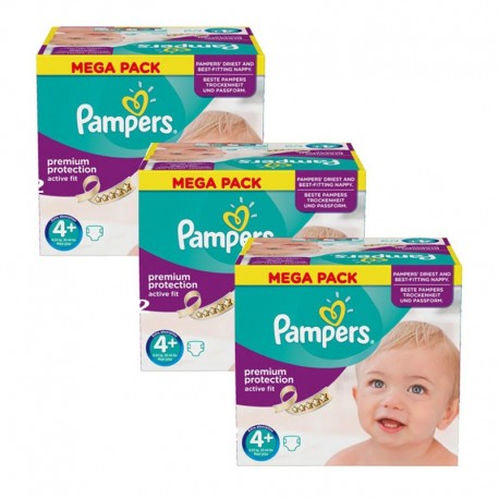 Pampers - Giga Pack 186 Couches Active Fit taille 4+ sur Les Couches