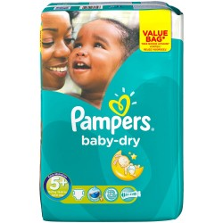 Pampers - Pack 28 Couches Baby Dry taille 5+ sur Les Couches
