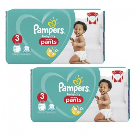 Pampers - Maxi Pack 160 Couches Baby Dry Pants taille 3 sur Les Couches