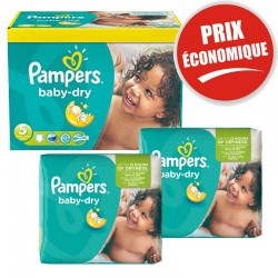 Pampers - Giga Pack 225 Couches Baby Dry taille 5+ sur Les Couches