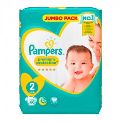 Pampers - Pack 68 Couches New Baby - Premium Protection taille 2