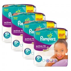 Pampers - Maxi Pack 128 Couches Active Fit - Premium Protection taille 5+ sur Les Couches