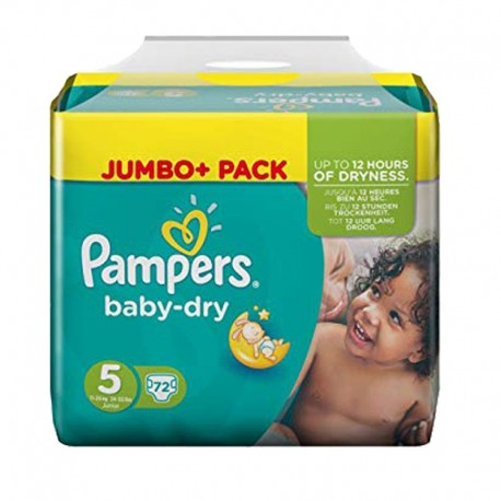 Pampers - Pack 72 Couches Baby Dry taille 5 sur Les Couches