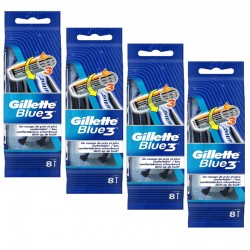 Lot de 4 Packs Gillette Blue3 Rasoirs Jetables 8 pc.Edition Football sur Les Couches