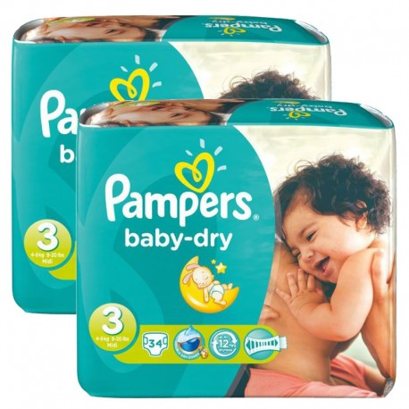 Pampers - Maxi Pack 170 Couches Baby Dry taille 3 sur Les Couches