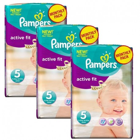Pampers - Giga Pack 282 Couches Active Fit taille 5 sur Les Couches