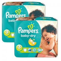 Pampers - 102 Couches Baby Dry taille 3 sur Les Couches