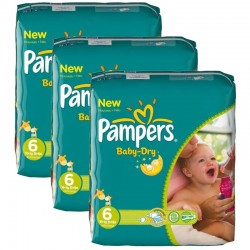 Pampers - Pack 132 Couches Baby Dry taille 6 sur Les Couches